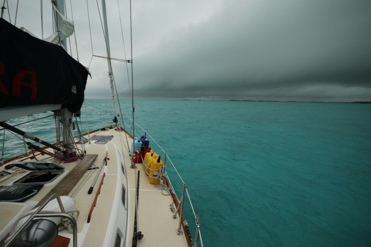 Storm front approaching, anchored at Big Majors (with no engine)